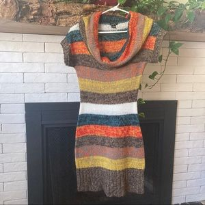 Striped Fall Colors Short Sleeve Sweater Dress